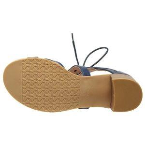 8b3a3fef3be Women Lace-Up Low Block Heel Sandal Navy RAM-03 Boutique